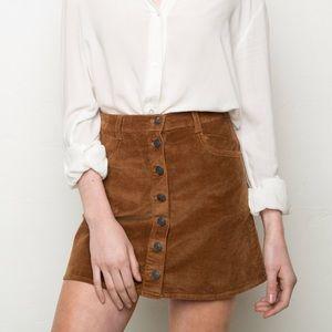 Brandy Melville Brown button mini skirt